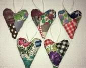 Vintage Quilt Valentine Heart Set of 5 Country Shabby Farmhouse Bridesmaid Gift Wedding Keepsake