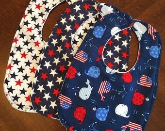 Patriotic set of 3 bibs