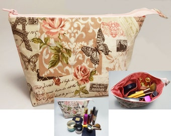 Makeup Bag With Built-In Organizer & Waterproof Inside Out - Rose 1