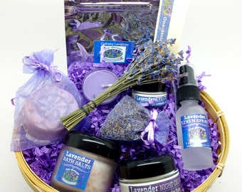 Lavender Gift Basket-Free Same Day Shipping- BATH SALTS OPTION--Travel & Home Size