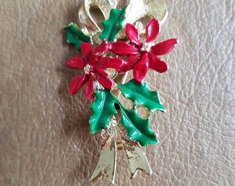 Vintage Gerry's Christmas Bow and Poinsettia Pin Or Brooch Gold Tone Metal Red and Green Enamel