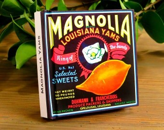 Small Journal - Magnolia Brand Yams  - Fruit Crate Art Print Cover
