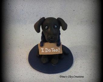 Wedding Cake Topper, Custom Cake Topper, Personalized, Dog, polymer clay, keepsake, I Do Too, sign