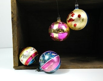 Handpainted hand blown glass ornaments, mixed set of 4