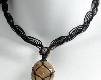 SALE: Rutilated Quartz Amulet & Crystal Handwoven Necklace