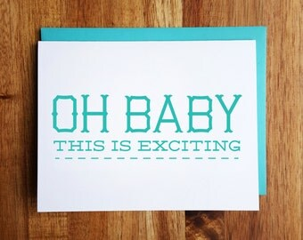 Funny Baby Card - Oh Baby, This is Exciting - Baby Shower - New Baby Congrats!