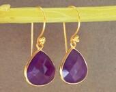 VALENTINES DAY SALE Purple Chalcedony Heart Shaped Gold Vermeil Drop Earrings Everyday Earrings Simple Earring Minimalist Jewelry