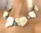 VALENTINES DAY SALE Chunky White Howlite Slab Statement Necklace Aquamarine and Copper Accents with Matching Earrings