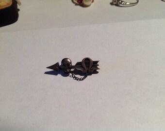Tiny sterling silver sorority skull omega pin brooch