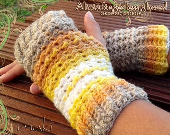 ALICIA fingerless gloves crochet pattern! Gloves crochet pattern! Full of large pictures! Permission to sell finished items. Pattern No. 173