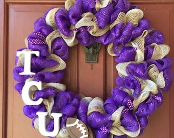 Deco Mesh Wreath - TCU (Texas Christian University)