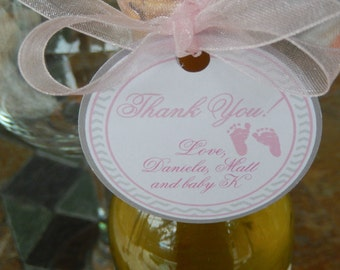 "Baby Shower Thank You 2"" Custom Favor Tags - for Mini Wine or Champagne Bottles - Party Favors - Baby Feet - (60) 2"" Personalized Tags"