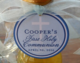"First Holy Communion Custom 3"" Favor Tags - For Wine or Champagne Bottles - Mason Jar Gifts -Favor Boxes - Party Favors - (30) Cross Tags"