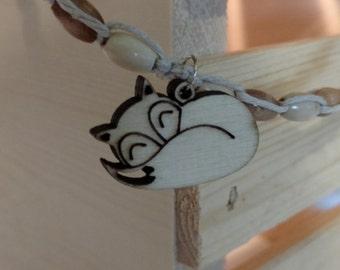 wood fox hemp necklace