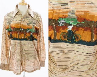 Vintage 1970s Victorian Bike Castle Tree Print Collar Button Down Shirt * Tan Gold Brown Green * Size Medium Large * FREE SHIPPING