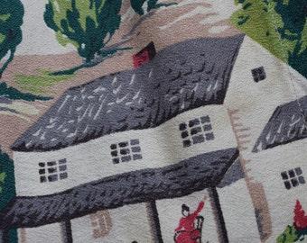 Barnyard Farm Amish Print Vintage 1950s Barkcloth Curtain x 4 panels