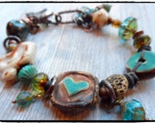 Bohemian Bracelet  Earthy Pottery Beads Turquoise Heart  Multi strand stacking bracelet
