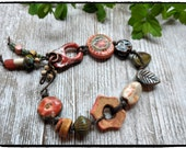 Funky Fresh Forest Beaded Bracelet in Asymmetrical Design