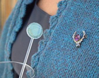 Sterling silver stag pin WBS Ward Brothers Scottish Stag Cairngorm amethyst brooch purple rhinestone vintage deer head antlerpin