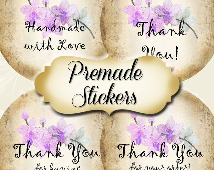 PREMADE•60 Custom 1.5 x 1.5 Round STICKERS•Labels•Tags•Package Labels•Custom Stickers•Custom Labels•Lilac ORCHID Rustic