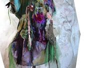 RESERVED Wonderful Green Silk Jacket with Silk Velvet Hand Dyed QUEEN Of The FOREST Fairy Boho Tattered