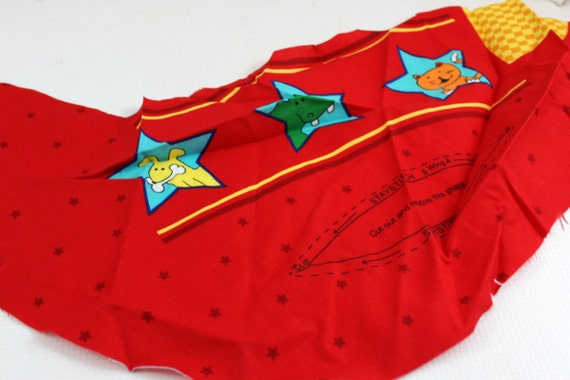 Red children 39 s airplane sewing fabric 3 panels sewing for Childrens airplane fabric