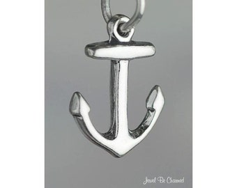 Small Sterling Silver Anchor Charm Boat Anchors Nautical Solid .925