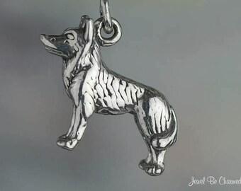 Sterling Silver Siberian Husky, Spitz or German Shepherd Charm .925