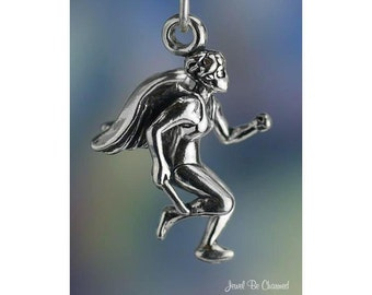 Sterling Silver Track and Field Runner Angel Charm Relay Race .925