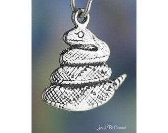 Sterling Silver Diamondback Rattlesnake Charm Snake Reptile Solid .925