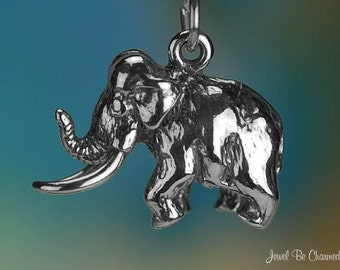 Sterling Silver Woolly Mammoth Charm Prehistoric Elephant 3D Solid 925