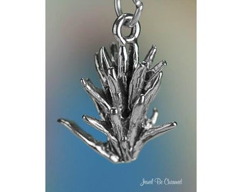 Sterling Silver Indian Paintbrush Desert Wildflower Charm 3D Solid 925