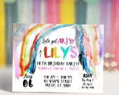Rainbow Painting Art Party Invitation | Art Show Invitation | Coloring Party Invitation | FB Cover | Printable Digital DIY Invitation