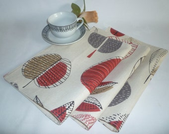 Red Placemats 6 Funky Retro Grey Brown Funky Floral Fabric Dinner Mats washable