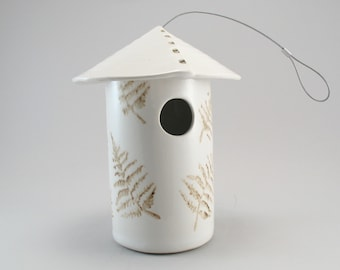 Bird House-Pottery Bird House-Ceramic Bird House-White