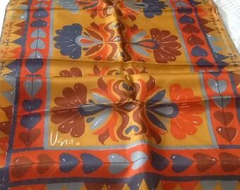Vintage VERA NEUMANN Scarf Rectangle Scarf or Wrap Silk Japan Hearts Blue Red