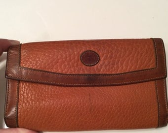 Vintage DOONEY and Bourke Wallet Leather Wallet Burnt Orange With Tan Trim USA