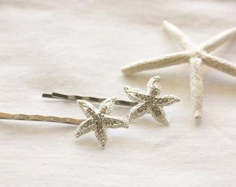 Starfish Rhinestone Silver Hair Pins, Silver Tone Hair Pins, Nautical Hairpins, Weddings, Brides, Bridal Party