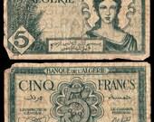 1940s Algeria Algerian Franc Currency Money Bill. 8 x 10. Antique Digital Paper. Scrapbooking Supplies. Instant Download. High Resolution