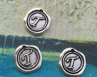 10PCS 19mm antiqued silver plated alphabet letter T charms findings pendants