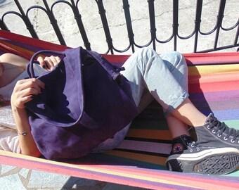 Leather  slouchy  Handbag,nubuck, shoulder bag,everyday bag, named Femme Fatale , in  purple color MADE TO ORDER