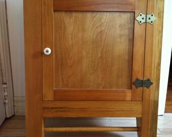 Vintage handmade maple wood wall cupboard medicine cabinet