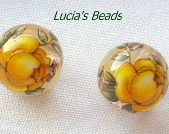 NEW Pair of Japanese Tensha Beads Yellow Rose on Clear 12 MM