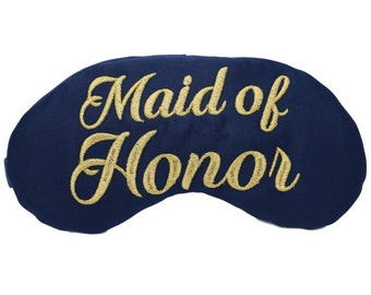 Maid of Honor Custom Sleep Mask Wedding Party Gifts Navy and Gold Bridesmaid