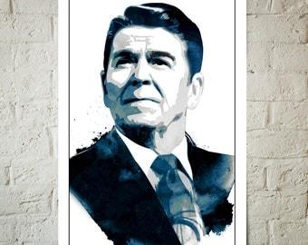 Ronald Reagan, American, President, Art print, Portrait, illustration, Poster size, Classroom Decor, Americana Decor, US President