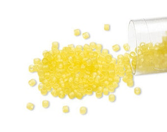 Miyuki Delica #743  transparent matte light yellow 11/0 in 1, 5 or 10 gram package