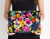 The perfect Spring Painted Floral on Black Print Zippered Accessory Clutch // Handbag // Makeup Pouch. Comes in two perfect sizes.