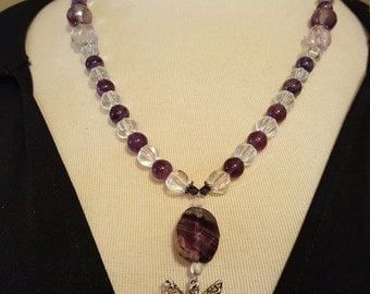 I Believe in Fairies - Vintage Glass Bead Necklace with Fairy Pendant