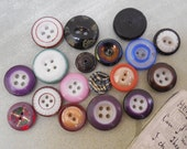 18 Antique China Buttons Mixed Lot #1