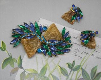 JULIANA Blue & Green Navette Rhinestone Brooch w/ Earrings Set    NM42